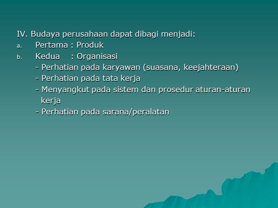 IV.Budaya perusahaan dapat dibagi menjadi: a. Pertama : Produk b.