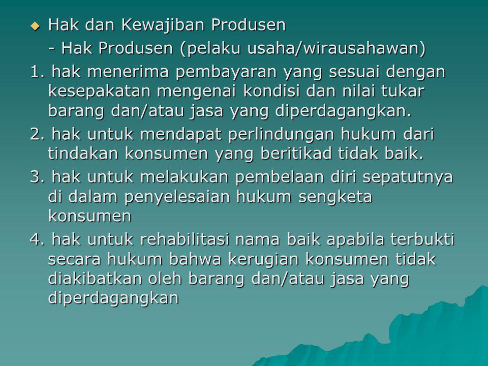  Hak dan Kewajiban Produsen - Hak Produsen (pelaku usaha/wirausahawan) 1. hak menerima pembayaran yang sesuai dengan kesepakatan mengenai kondisi dan