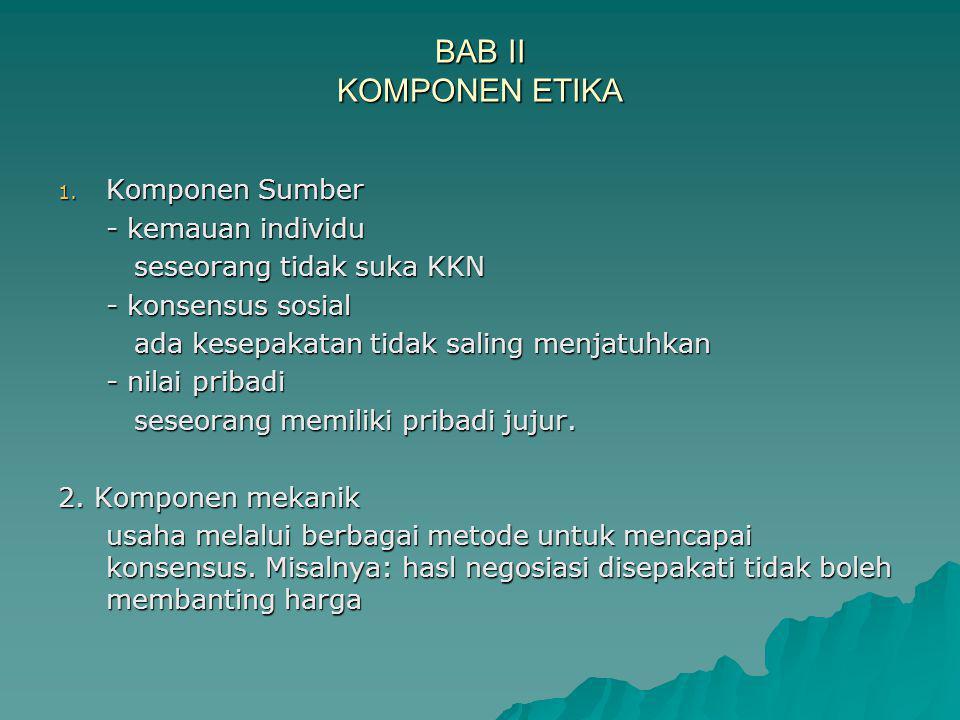 BAB II KOMPONEN ETIKA 1.