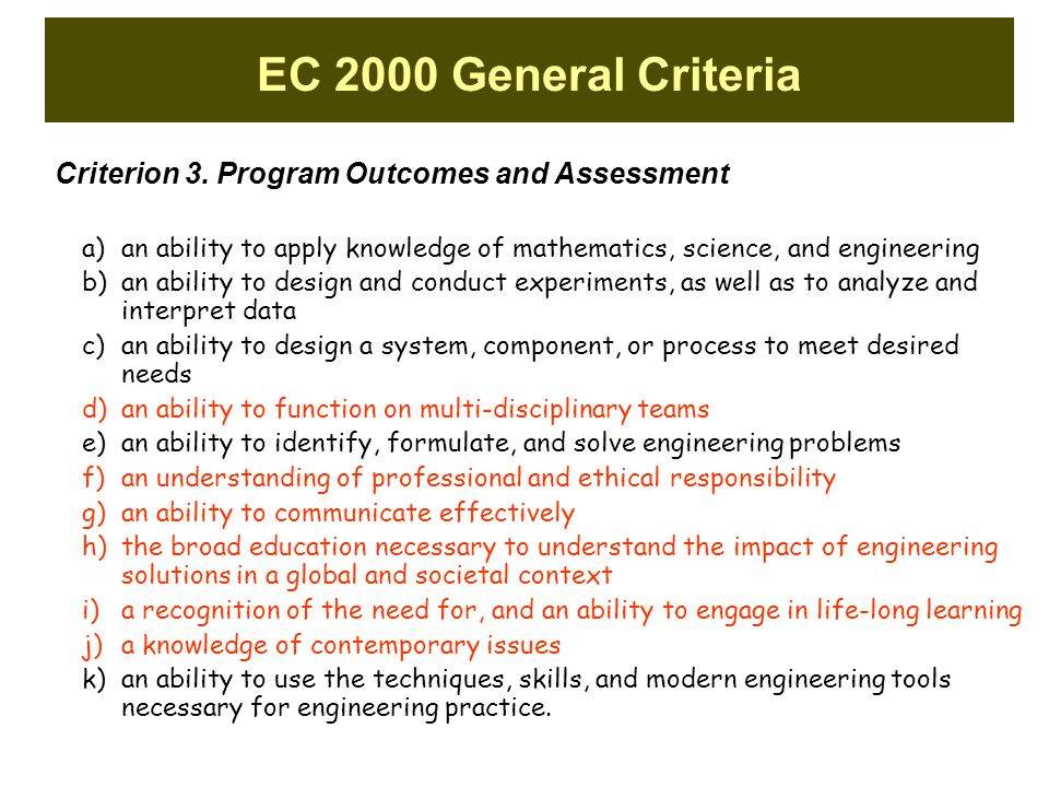 EC 2000 General Criteria Criterion 3. Program Outcomes and Assessment a)an ability to apply knowledge of mathematics, science, and engineering b)an ab