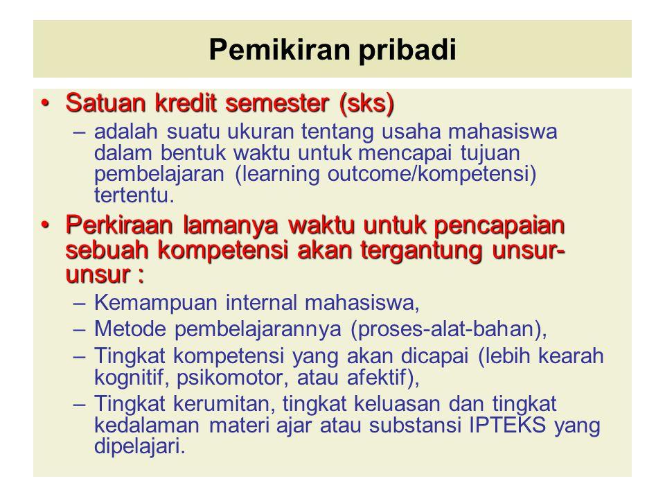 Pemikiran pribadi Satuan kredit semester (sks) –a–adalah suatu ukuran tentang usaha mahasiswa dalam bentuk waktu untuk mencapai tujuan pembelajaran (l