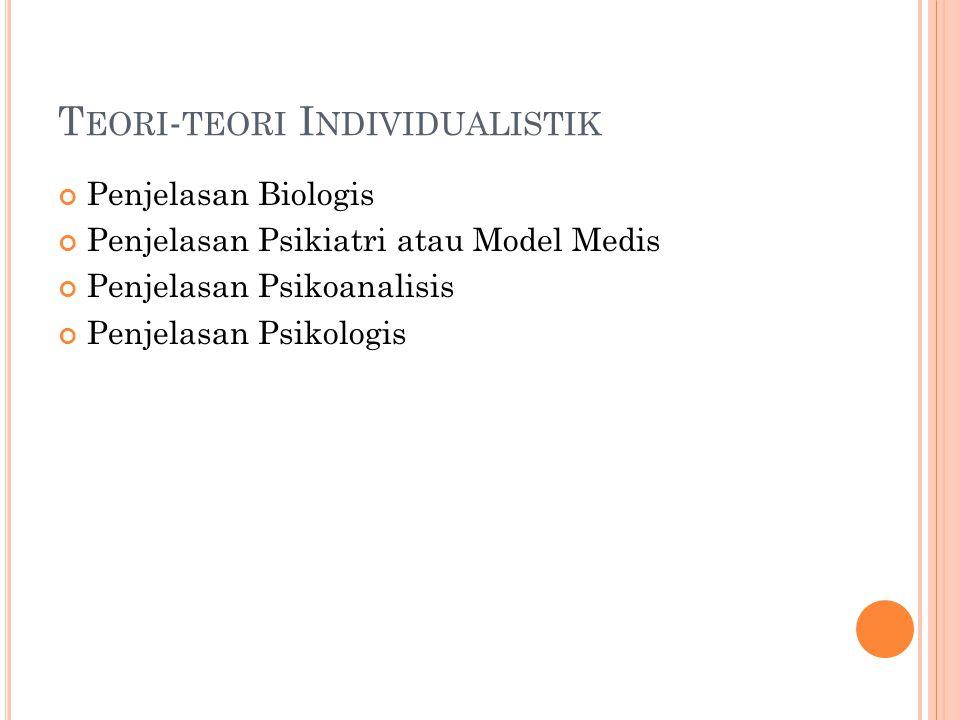 T EORI - TEORI I NDIVIDUALISTIK Penjelasan Biologis Penjelasan Psikiatri atau Model Medis Penjelasan Psikoanalisis Penjelasan Psikologis