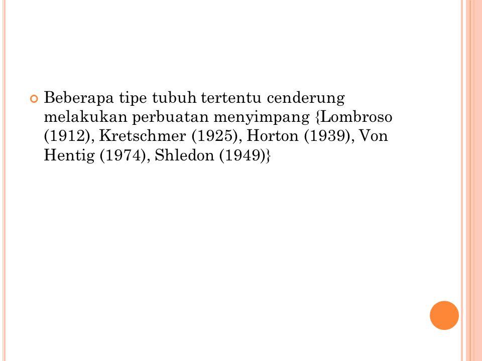 Beberapa tipe tubuh tertentu cenderung melakukan perbuatan menyimpang {Lombroso (1912), Kretschmer (1925), Horton (1939), Von Hentig (1974), Shledon (