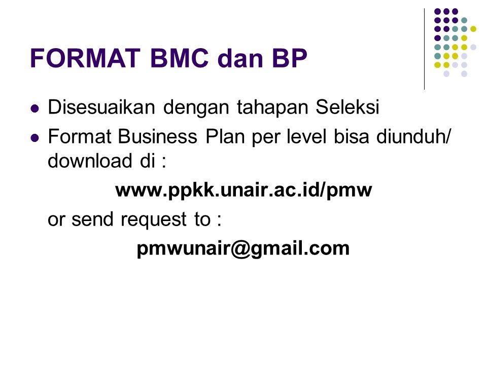 FORMAT BMC dan BP Disesuaikan dengan tahapan Seleksi Format Business Plan per level bisa diunduh/ download di : www.ppkk.unair.ac.id/pmw or send reque