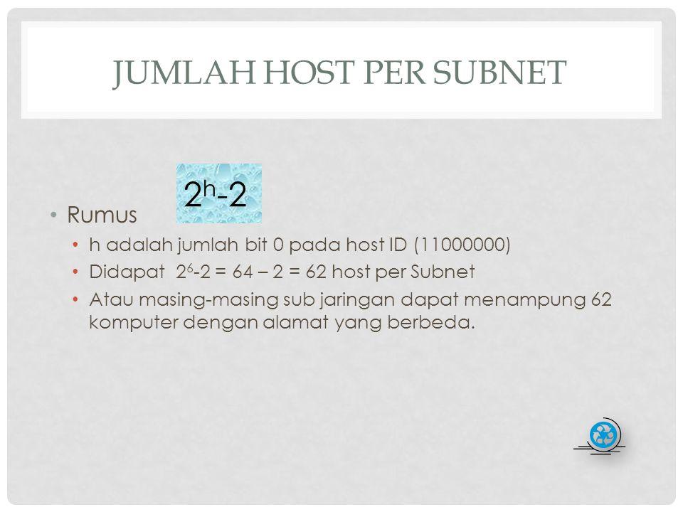 MENENTUKAN JUMLAH SUBNET (SUB JARINGAN) BARU YANG TERBENTUK Rumus N adalah jumlah bit 1 pada host ID yang telah dimodifikasi (11000000) 2 2 -2 = 4 – 2 = 2 Jadi ada 2 subnet baru 2 n -2