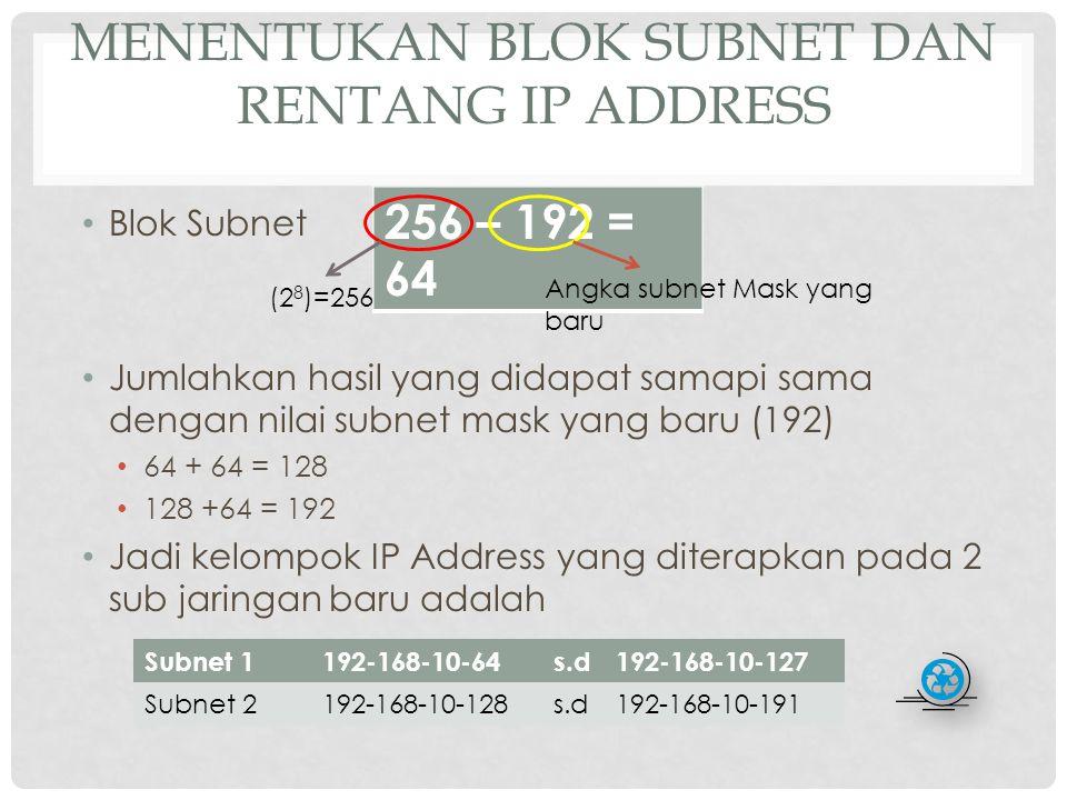 JUMLAH HOST PER SUBNET Rumus h adalah jumlah bit 0 pada host ID (11000000) Didapat 2 6 -2 = 64 – 2 = 62 host per Subnet Atau masing-masing sub jaringan dapat menampung 62 komputer dengan alamat yang berbeda.