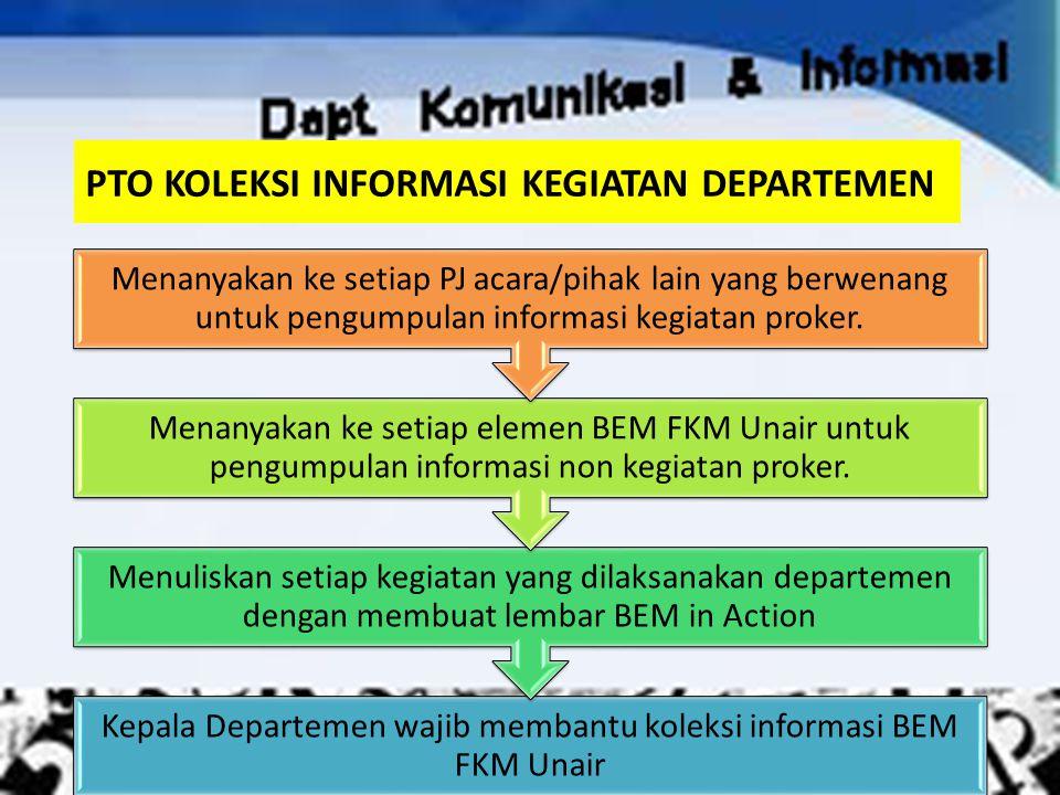 PTO KOLEKSI INFORMASI KEGIATAN DEPARTEMEN Kepala Departemen wajib membantu koleksi informasi BEM FKM Unair Menuliskan setiap kegiatan yang dilaksanaka