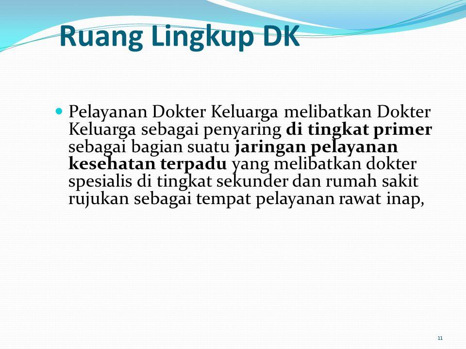 Ruang Lingkup DK Pelayanan Dokter Keluarga melibatkan Dokter Keluarga sebagai penyaring di tingkat primer sebagai bagian suatu jaringan pelayanan kese