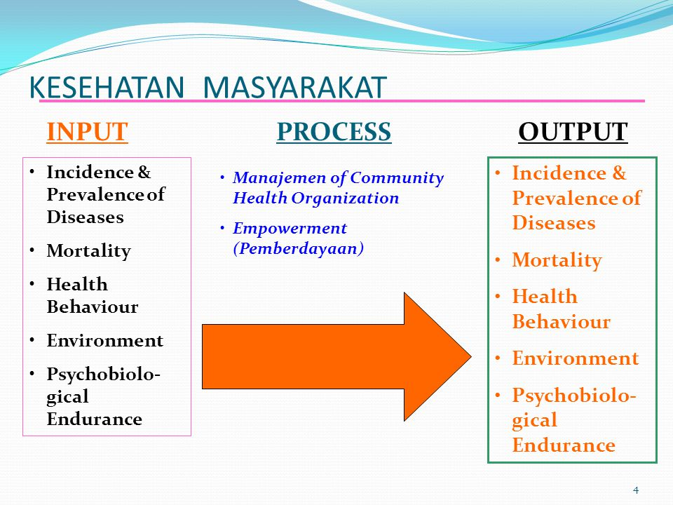 KESEHATAN MASYARAKAT 4 INPUTPROCESSOUTPUT Incidence & Prevalence of Diseases Mortality Health Behaviour Environment Psychobiolo- gical Endurance Manajemen of Community Health Organization Empowerment (Pemberdayaan) Incidence & Prevalence of Diseases Mortality Health Behaviour Environment Psychobiolo- gical Endurance