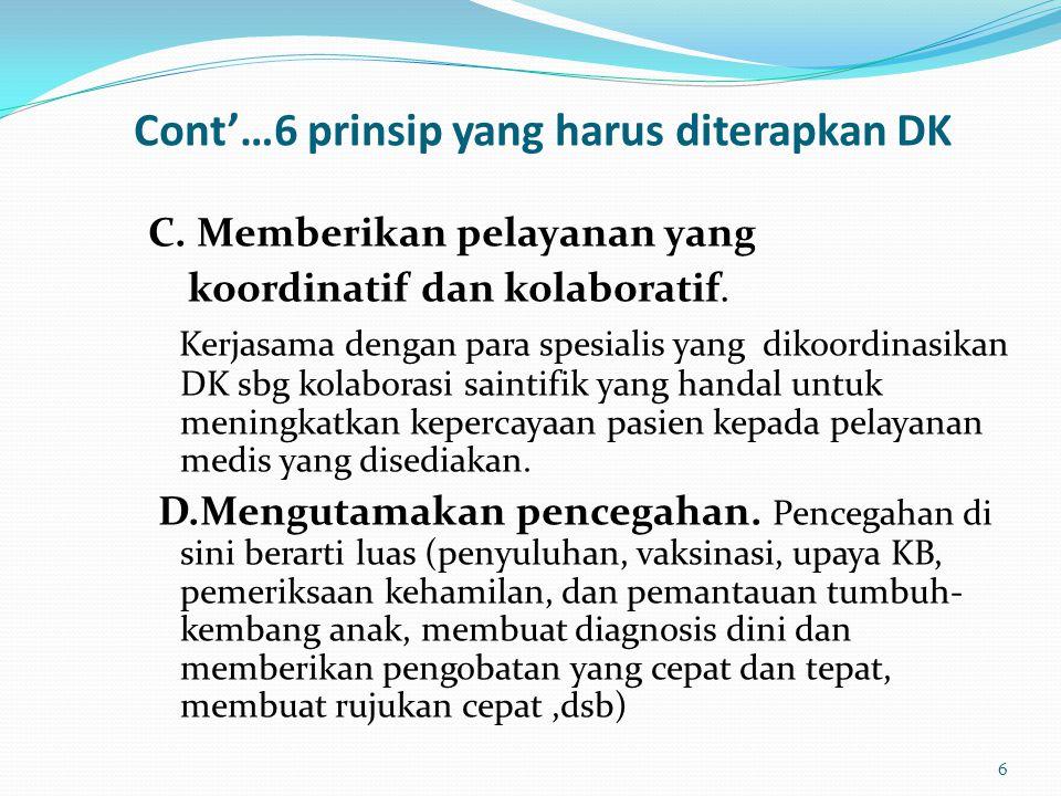 Cont'…6 prinsip yang harus diterapkan DK C. Memberikan pelayanan yang koordinatif dan kolaboratif. Kerjasama dengan para spesialis yang dikoordinasika