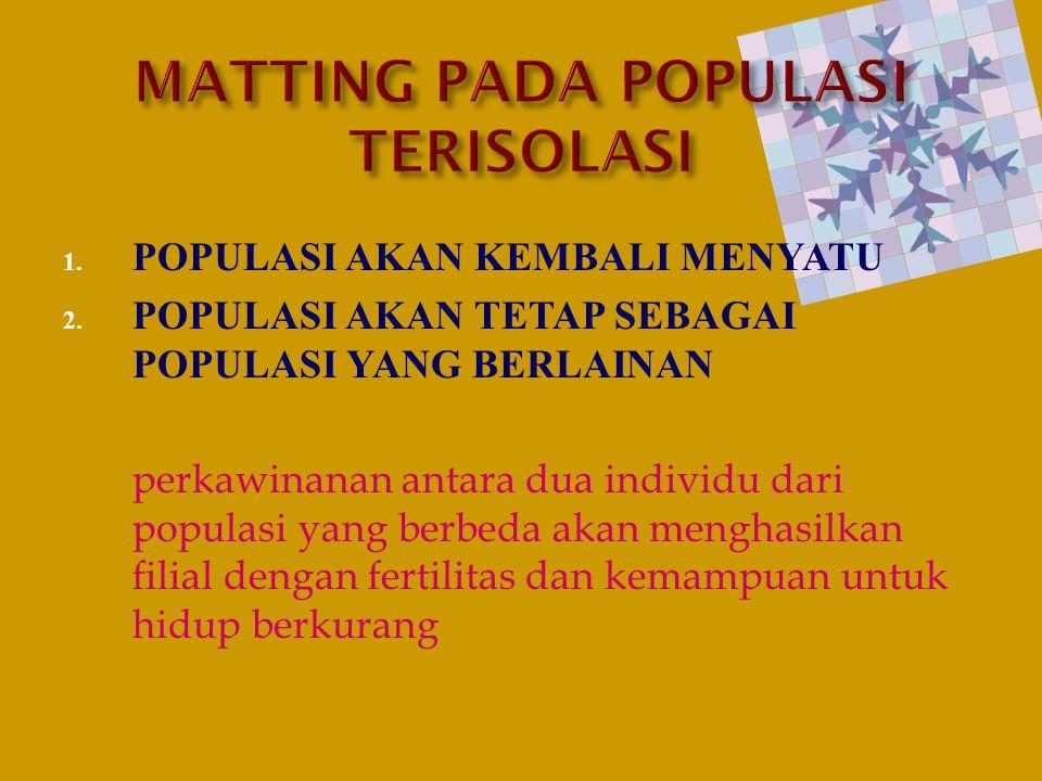 1. POPULASI AKAN KEMBALI MENYATU 2. POPULASI AKAN TETAP SEBAGAI POPULASI YANG BERLAINAN perkawinanan antara dua individu dari populasi yang berbeda ak
