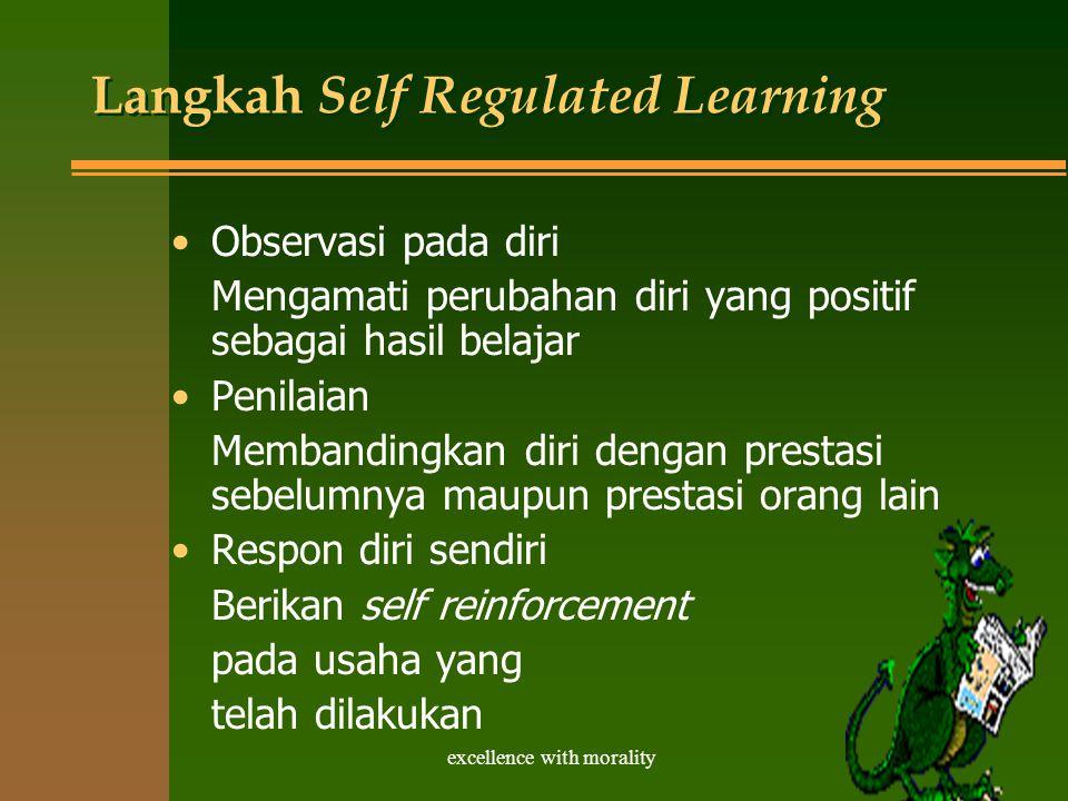 excellence with morality Langkah Self Regulated Learning Observasi pada diri Mengamati perubahan diri yang positif sebagai hasil belajar Penilaian Membandingkan diri dengan prestasi sebelumnya maupun prestasi orang lain Respon diri sendiri Berikan self reinforcement pada usaha yang telah dilakukan
