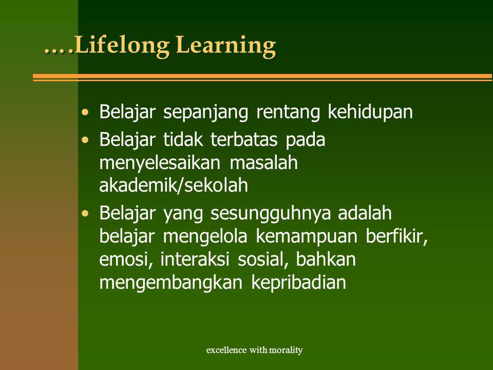 excellence with morality ….Lifelong Learning Belajar sepanjang rentang kehidupan Belajar tidak terbatas pada menyelesaikan masalah akademik/sekolah Belajar yang sesungguhnya adalah belajar mengelola kemampuan berfikir, emosi, interaksi sosial, bahkan mengembangkan kepribadian