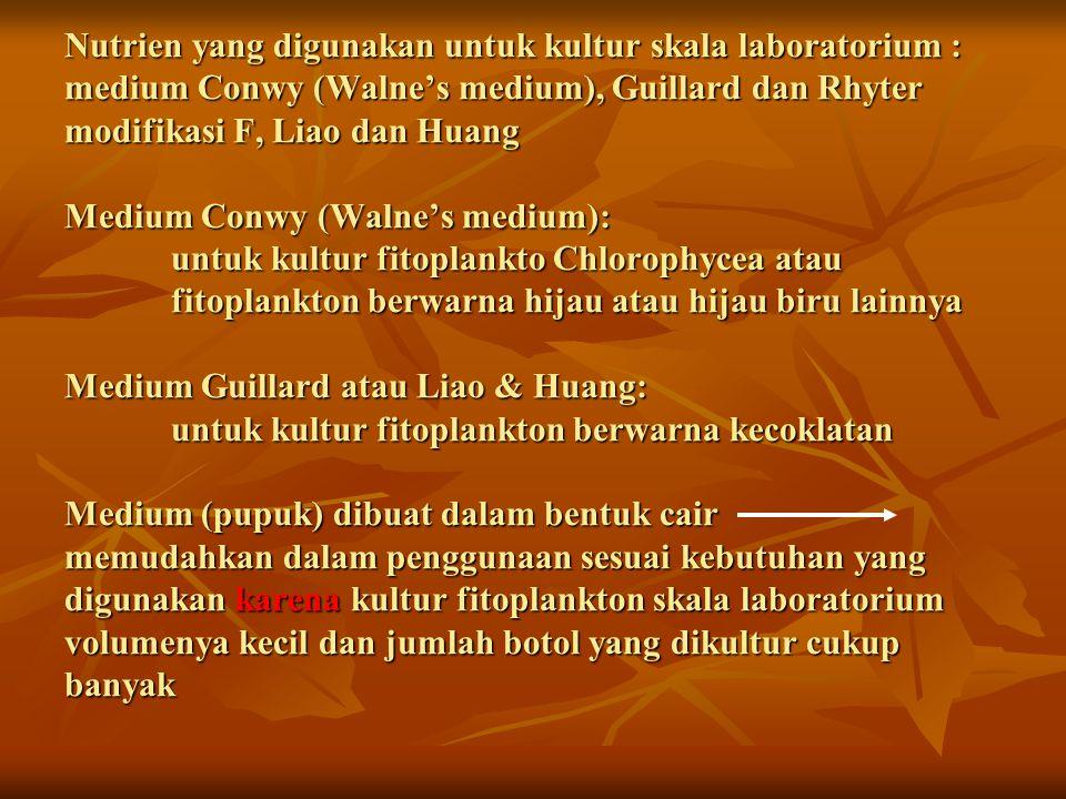 No.Bahan Kimia Nama medium ConwyF Liao dan Huang 1.2.3.4.5.6.7.8.9.10.11.