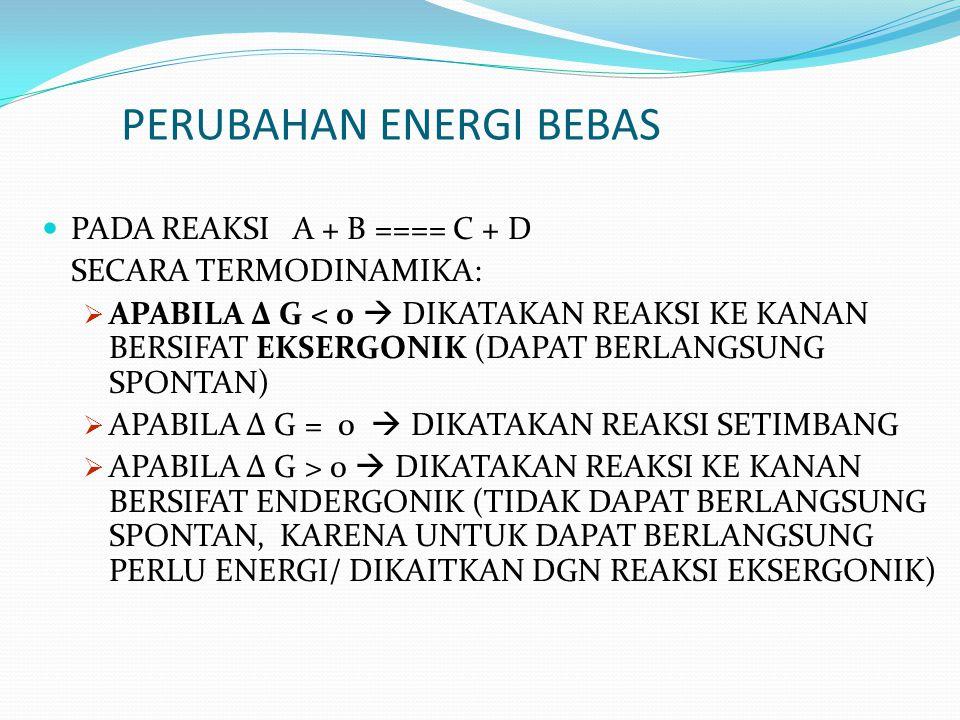 PERUBAHAN ENERGI BEBAS PADA REAKSI A + B ==== C + D SECARA TERMODINAMIKA:  APABILA Δ G < 0  DIKATAKAN REAKSI KE KANAN BERSIFAT EKSERGONIK (DAPAT BER
