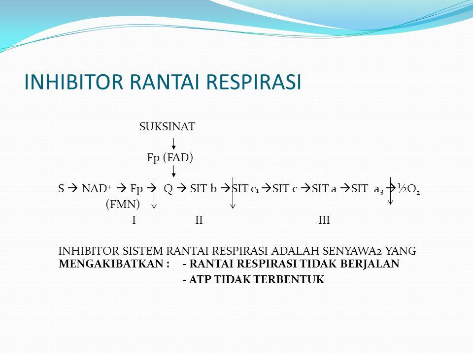 INHIBITOR RANTAI RESPIRASI SUKSINAT Fp (FAD) S  NAD +  Fp  Q  SIT b  SIT c 1  SIT c  SIT a  SIT a 3  ½O 2 (FMN) I II III INHIBITOR SISTEM RAN