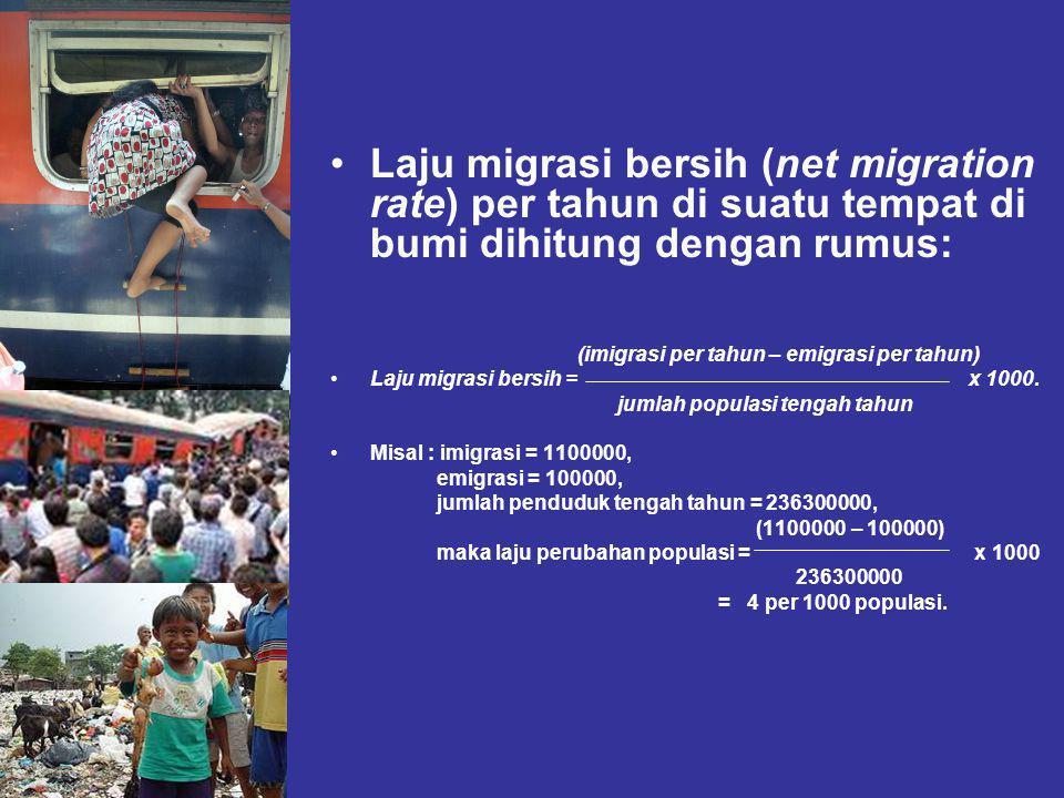 Laju migrasi bersih (net migration rate) per tahun di suatu tempat di bumi dihitung dengan rumus: (imigrasi per tahun – emigrasi per tahun) Laju migrasi bersih =x 1000.
