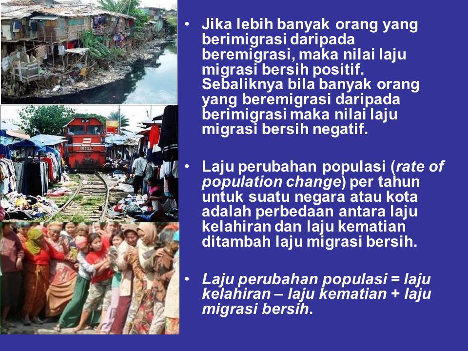 Jika lebih banyak orang yang berimigrasi daripada beremigrasi, maka nilai laju migrasi bersih positif.