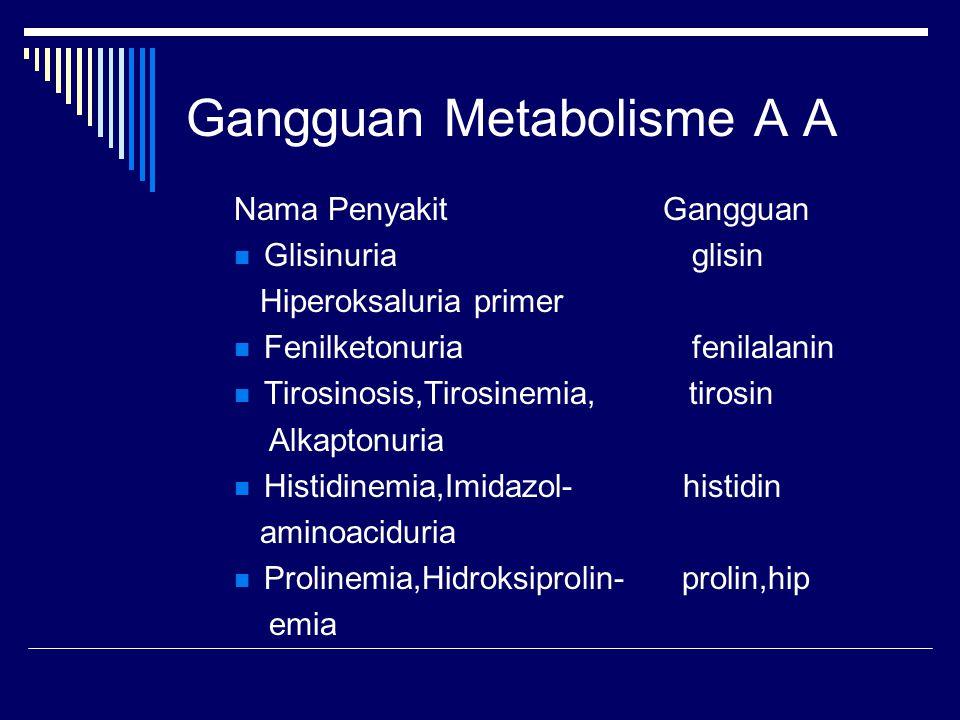 Gangguan Metabolisme A A Nama Penyakit Gangguan Glisinuria glisin Hiperoksaluria primer Fenilketonuria fenilalanin Tirosinosis,Tirosinemia, tirosin Al