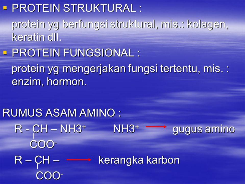  PROTEIN STRUKTURAL : protein yg berfungsi struktural, mis.: kolagen, keratin dll. protein yg berfungsi struktural, mis.: kolagen, keratin dll.  PRO