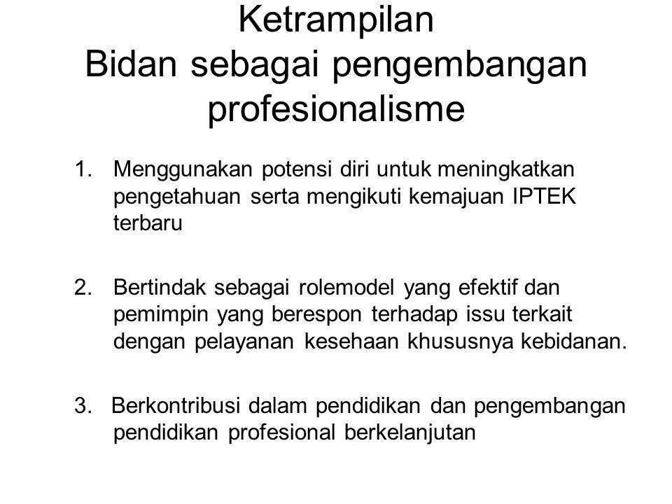 Ketrampilan Bidan sebagai pengembangan profesionalisme 1.Menggunakan potensi diri untuk meningkatkan pengetahuan serta mengikuti kemajuan IPTEK terbaru 2.Bertindak sebagai rolemodel yang efektif dan pemimpin yang berespon terhadap issu terkait dengan pelayanan kesehaan khususnya kebidanan.