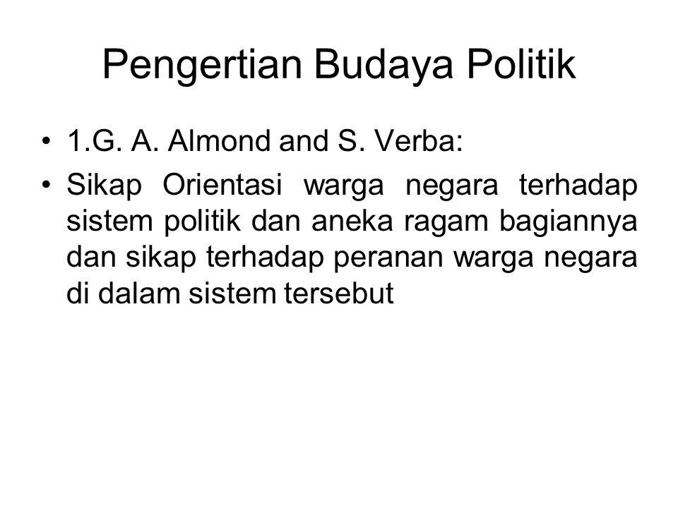 Pengertian Budaya Politik 1.G. A. Almond and S. Verba: Sikap Orientasi warga negara terhadap sistem politik dan aneka ragam bagiannya dan sikap terhad