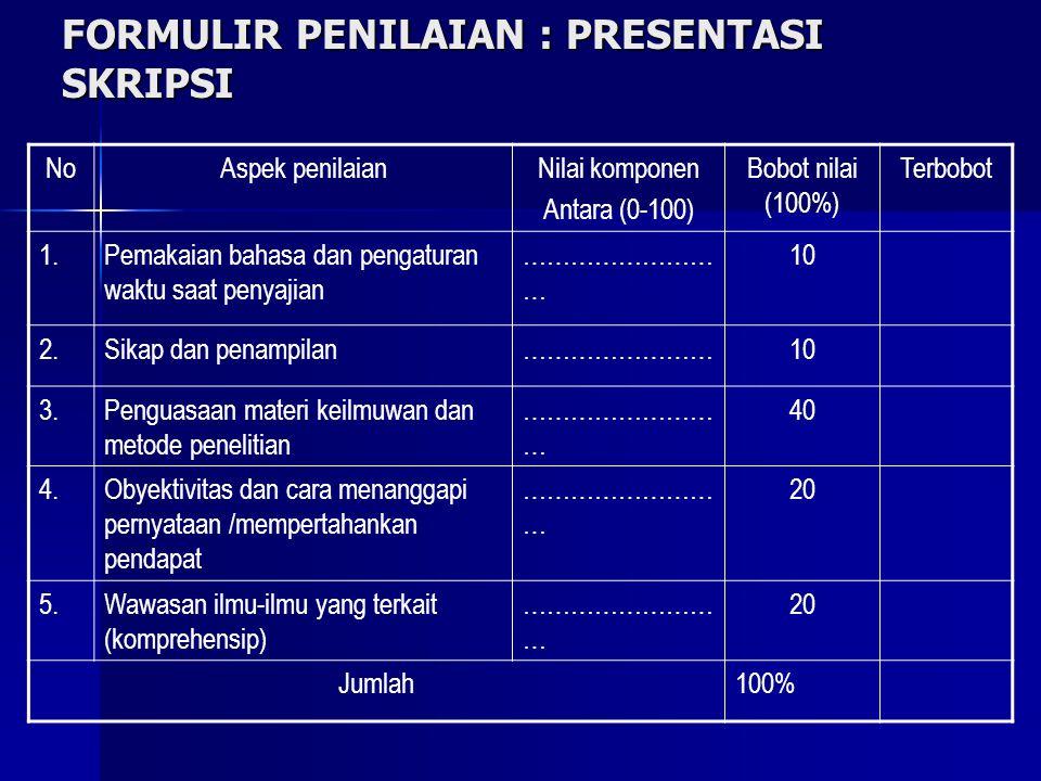 FORMULIR PENILAIAN : PRESENTASI SKRIPSI NoAspek penilaianNilai komponen Antara (0-100) Bobot nilai (100%) Terbobot 1.Pemakaian bahasa dan pengaturan w