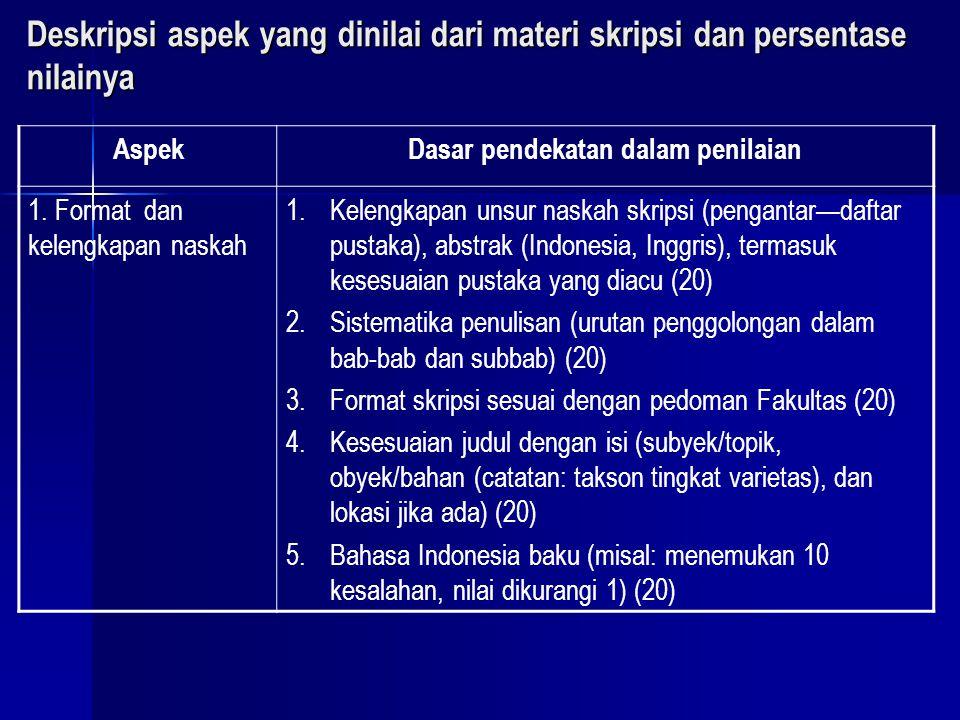 Deskripsi aspek yang dinilai dari materi skripsi dan persentase nilainya AspekDasar pendekatan dalam penilaian 1. Format dan kelengkapan naskah 1.Kele