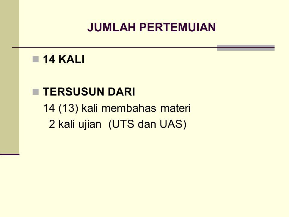 JUMLAH PERTEMUIAN 14 KALI TERSUSUN DARI 14 (13) kali membahas materi 2 kali ujian (UTS dan UAS)