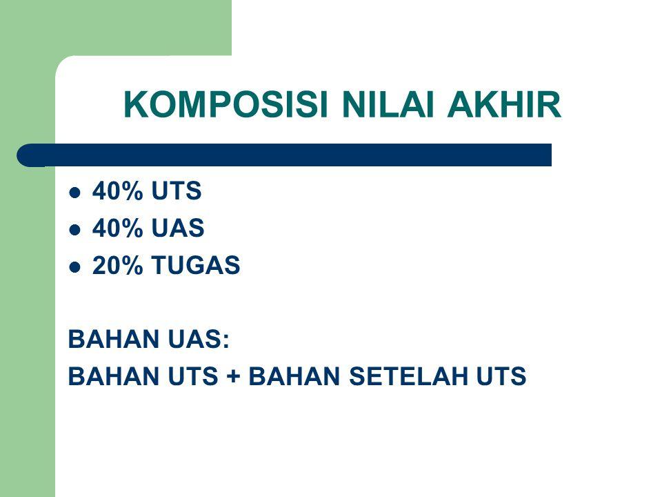 KOMPOSISI NILAI AKHIR 40% UTS 40% UAS 20% TUGAS BAHAN UAS: BAHAN UTS + BAHAN SETELAH UTS