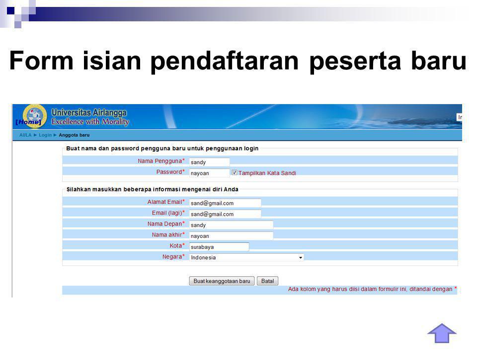 Form isian pendaftaran peserta baru