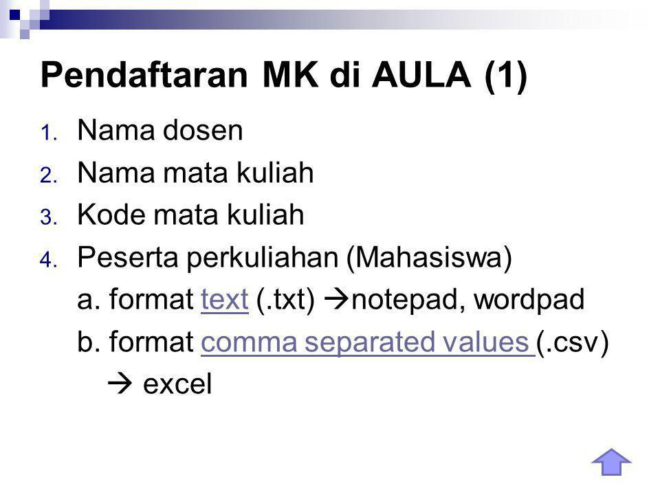 Pendaftaran MK di AULA (1) 1. Nama dosen 2. Nama mata kuliah 3.