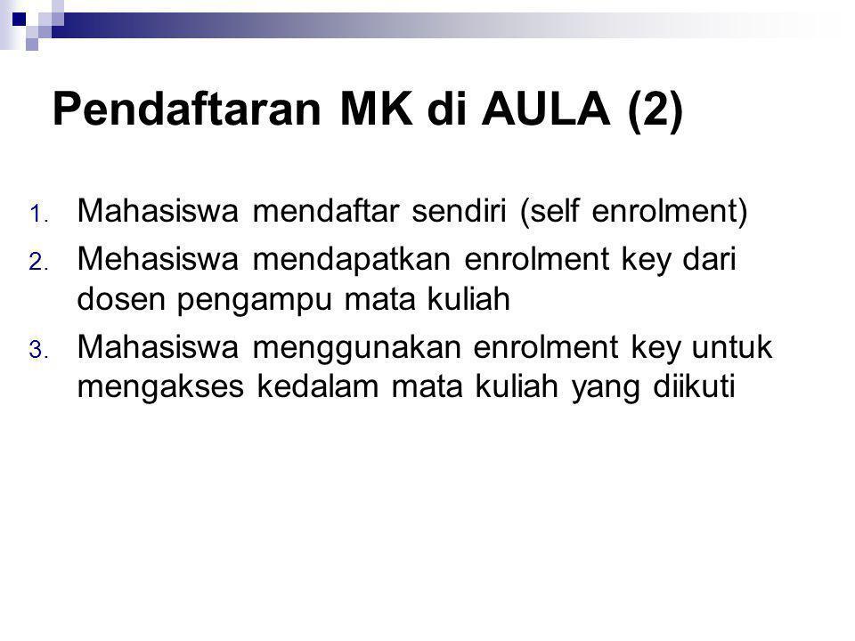 Pendaftaran MK di AULA (2) 1. Mahasiswa mendaftar sendiri (self enrolment) 2.