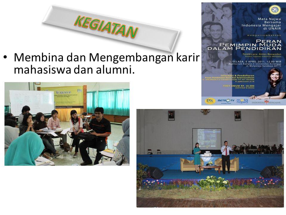 Membina dan Mengembangan karir mahasiswa dan alumni.