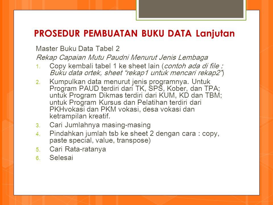 PROSEDUR PEMBUATAN BUKU DATA Lanjutan Master Buku Data Tabel 2 Rekap Capaian Mutu Paudni Menurut Jenis Lembaga 1.