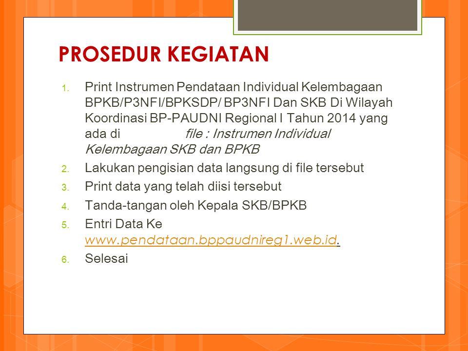 PROSEDUR KEGIATAN 1. Print Instrumen Pendataan Individual Kelembagaan BPKB/P3NFI/BPKSDP/ BP3NFI Dan SKB Di Wilayah Koordinasi BP-PAUDNI Regional I Tah