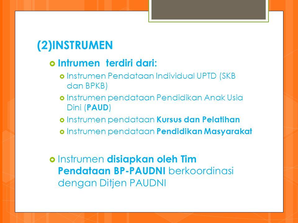 (2)INSTRUMEN  Intrumen terdiri dari:  Instrumen Pendataan Individual UPTD (SKB dan BPKB)  Instrumen pendataan Pendidikan Anak Usia Dini ( PAUD ) 