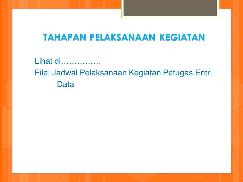 TAHAPAN PELAKSANAAN KEGIATAN Lihat di…………… File: Jadwal Pelaksanaan Kegiatan Petugas Entri Data