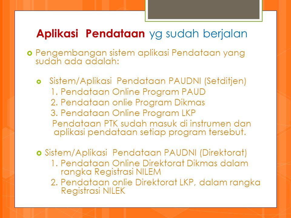 Kebijakan Program Pendataan PAUDNI 2013-2014 meliputi: (1) Pendataan Lembaga PAUDNI yang dikoordinasikan oleh Setditjen PAUDNI; dan (2) Pendataan Individual SKB/BPKB dan Pemetaan Mutu PAUDNI yang dikoordinasikan oleh UPT P2-PAUDNI dan BP-PAUDNI.