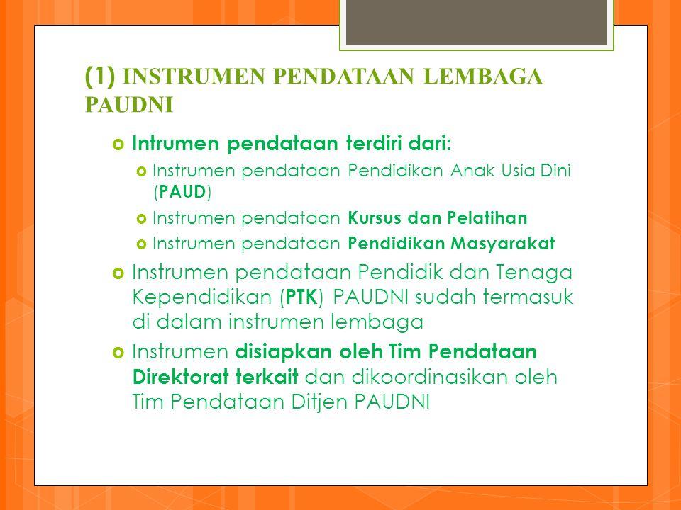 (1) INSTRUMEN PENDATAAN LEMBAGA PAUDNI  Intrumen pendataan terdiri dari:  Instrumen pendataan Pendidikan Anak Usia Dini ( PAUD )  Instrumen pendata