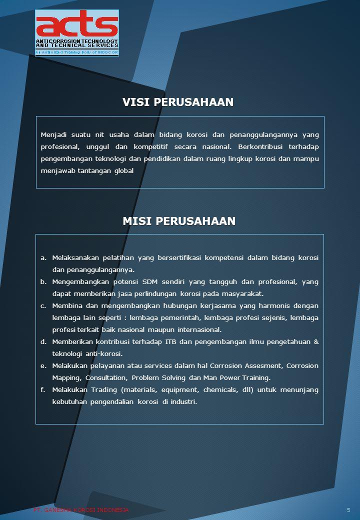 VISI PERUSAHAAN Menjadi suatu nit usaha dalam bidang korosi dan penanggulangannya yang profesional, unggul dan kompetitif secara nasional. Berkontribu