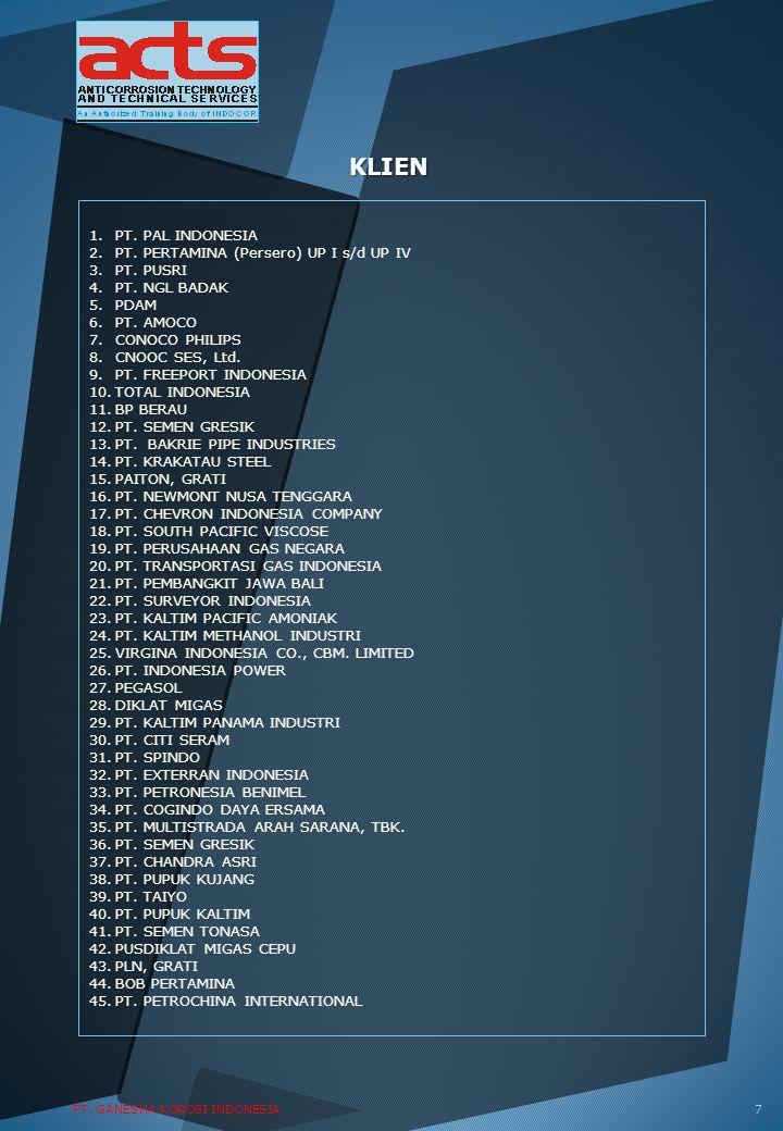 KLIEN 1.PT. PAL INDONESIA 2.PT. PERTAMINA (Persero) UP I s/d UP IV 3.PT. PUSRI 4.PT. NGL BADAK 5.PDAM 6.PT. AMOCO 7.CONOCO PHILIPS 8.CNOOC SES, Ltd. 9