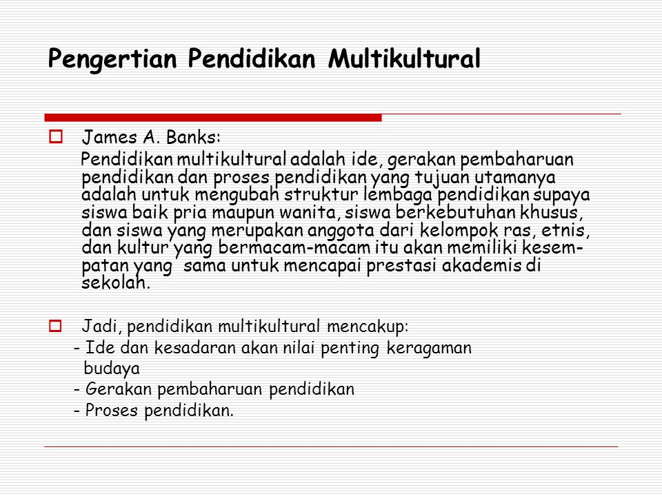 Pengertian Pendidikan Multikultural  James A.