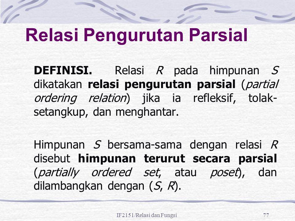 IF2151/Relasi dan Fungsi77 Relasi Pengurutan Parsial DEFINISI. Relasi R pada himpunan S dikatakan relasi pengurutan parsial (partial ordering relation