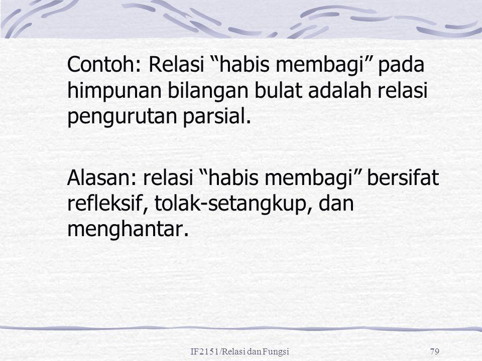"""IF2151/Relasi dan Fungsi79 Contoh: Relasi """"habis membagi"""" pada himpunan bilangan bulat adalah relasi pengurutan parsial. Alasan: relasi """"habis membagi"""