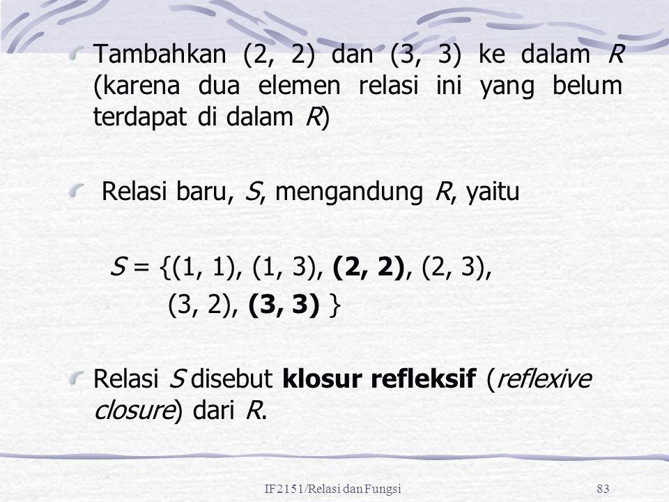 IF2151/Relasi dan Fungsi83 Tambahkan (2, 2) dan (3, 3) ke dalam R (karena dua elemen relasi ini yang belum terdapat di dalam R) Relasi baru, S, mengan