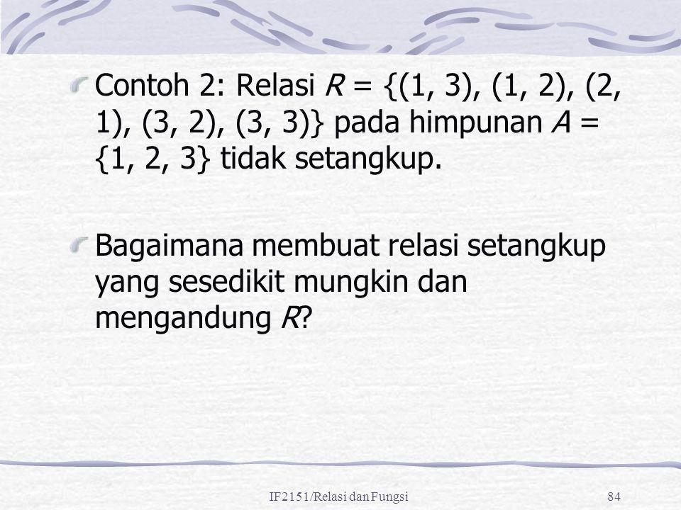 IF2151/Relasi dan Fungsi84 Contoh 2: Relasi R = {(1, 3), (1, 2), (2, 1), (3, 2), (3, 3)} pada himpunan A = {1, 2, 3} tidak setangkup. Bagaimana membua