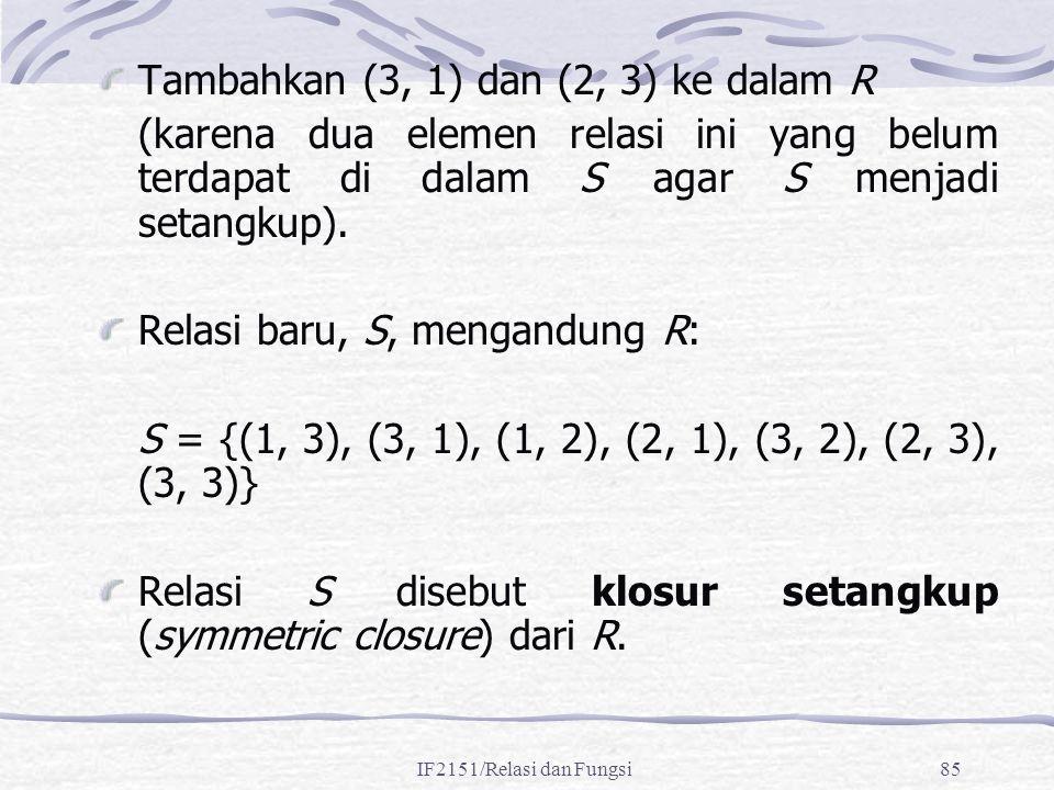 IF2151/Relasi dan Fungsi85 Tambahkan (3, 1) dan (2, 3) ke dalam R (karena dua elemen relasi ini yang belum terdapat di dalam S agar S menjadi setangku