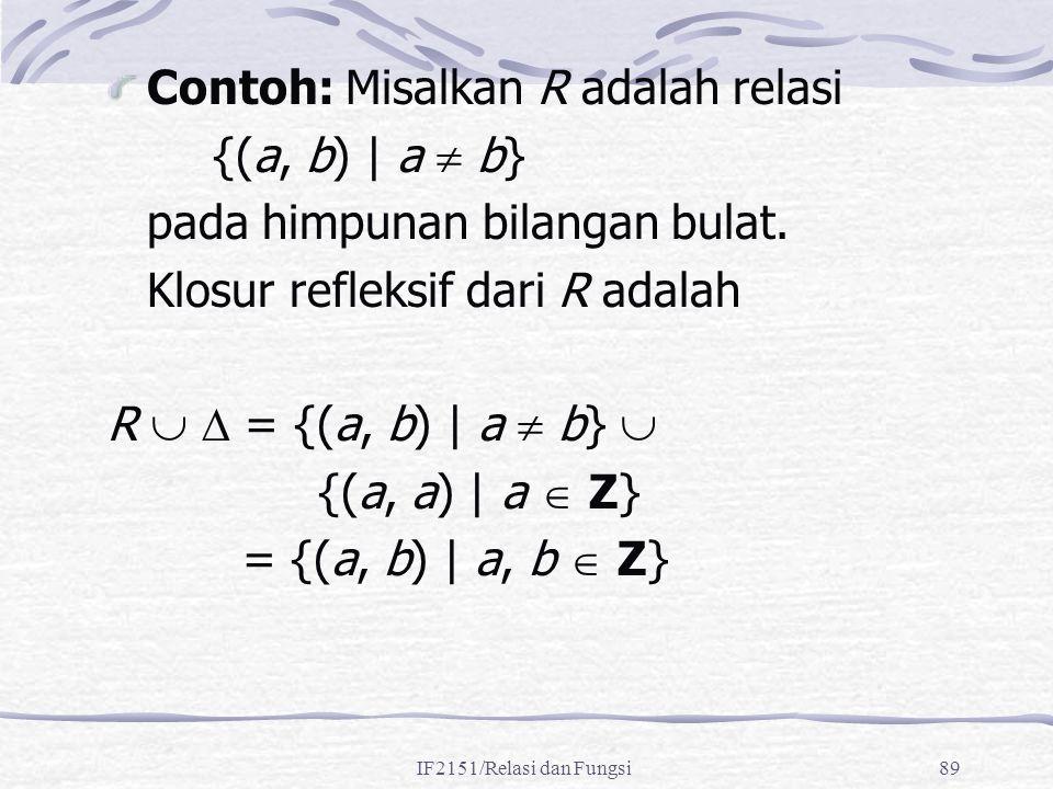 IF2151/Relasi dan Fungsi89 Contoh: Misalkan R adalah relasi {(a, b) | a  b} pada himpunan bilangan bulat. Klosur refleksif dari R adalah R   = {(a,