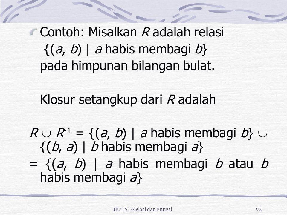 IF2151/Relasi dan Fungsi92 Contoh: Misalkan R adalah relasi {(a, b) | a habis membagi b} pada himpunan bilangan bulat. Klosur setangkup dari R adalah